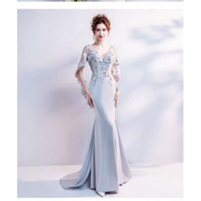 パーティー ドレス 10代 20代 30代40代 ワンピース おしゃれ フォーマル お呼ばれ シフォン マキシ2019 春 秋 カラードレス 結婚式 成人