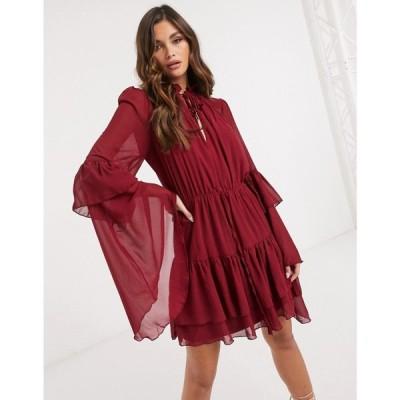 ミスガイデッド Missguided レディース ワンピース ワンピース・ドレス Smock Dress With Keyhole Detail In Burgundy バーガンディ