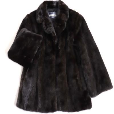 極美品▼MOONBAT MINK ムーンバット ミンク 本毛皮コート ダークブラウン 毛質艶やか・柔らか◎