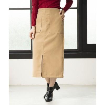 スカート フェイクウールセミタイトスカート