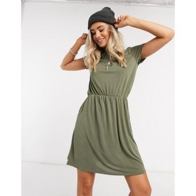 オブジェクト レディース ワンピース トップス Object Maxwell core slinky mini dress in olive Burnt olive