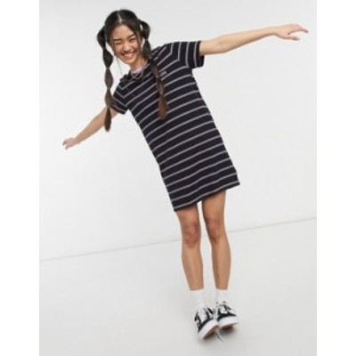 バンズ レディース ワンピース トップス Vans Ally Stripe t-shirt dress in black Black