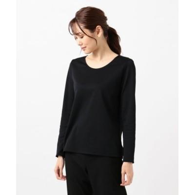 L size ONWARD(大きいサイズ)/エルサイズオンワード Pique Jersey カットソー ブラック系 XL