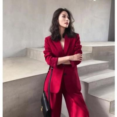 テーラードジャケット セットアップ レディース セットアップ ジャケット 韓国 セットアップ 結婚式 ワイドパンツ  セットアップ ワイド