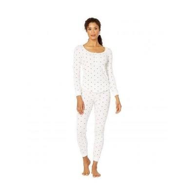 Plush プラッシュ レディース 女性用 ファッション パジャマ 寝巻き Thermal Heart Pajama + Scrunchie Set - White/Red