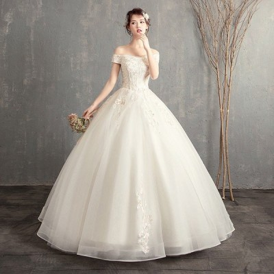 ウェディングドレス 白 格安 レース 結婚式 花嫁 シンプル ロングドレス 袖あり ブライダル 二次会 パーティードレス 披露宴 プリンセスドレス 大きいサイズ