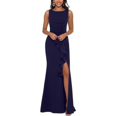 ベッツィアンドアダム Betsy & Adam レディース パーティードレス ワンピース・ドレス Ruffle-Detail Gown Navy Blue
