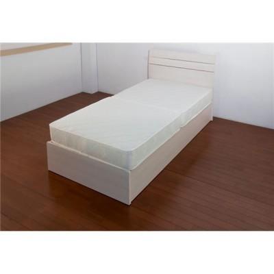 ホテルスタイルベッド シングル 二つ折りボンネルコイルスプリングマットレス付 〔ホワイト〕〔代引不可〕