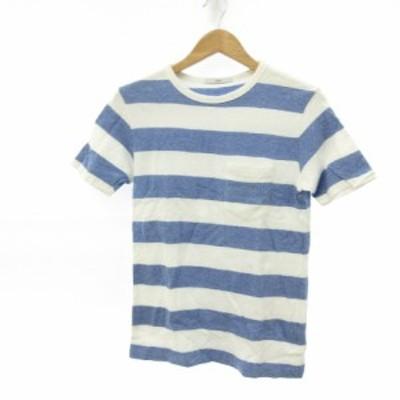 【中古】シップス SHIPS カットソー Tシャツ 半袖 ボーダー 白 青 S *E325 メンズ