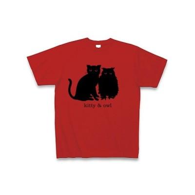 子猫とフクロウ Tシャツ(レッド)