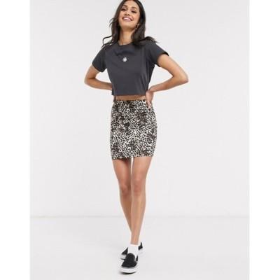 エイソス レディース スカート ボトムス ASOS DESIGN jersey animal print pencil mini skirt