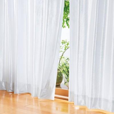 ベルーナインテリア 一年中お役立ちエコレースカーテン「エコファイン」 無地調 無地調 約幅100×丈108cm レディース