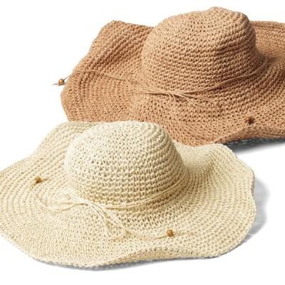 畳んでバックにも入れられる ざっくり編みつば広ペーパーハット 全2色 帽子 レディース uv 折りたたみ 夏素材 UVカット UV帽子 熱中症 帽子 麦わら