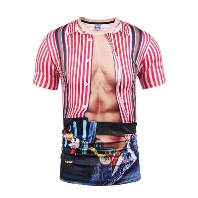 おもしろtシャツ メンズtシャツマッチョ 筋肉tシャツ 半袖tシャツ 高品質プリント