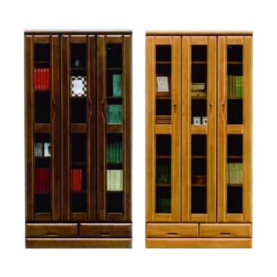本棚 書棚 フリーボード 幅90cm 高さ180cm 日本製 開き扉 ハイタイプ 木製 完成品 ブラウン ナチュラル