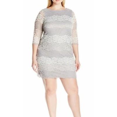 Jessica Howard ジェシカハワード ファッション ドレス Jessica Howard NEW Gray Womens Size 18W Plus Lace Sheath Dress