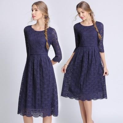 パーティー ドレス ワンピース 七分袖 ひざ丈 レース 大きめサイズ お呼ばれ mme4663