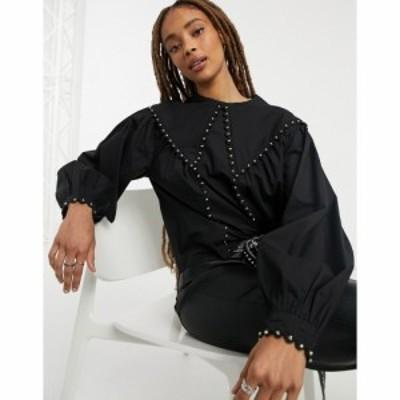 トップショップ Topshop レディース ブラウス・シャツ トップス blouse with collar in black ブラック