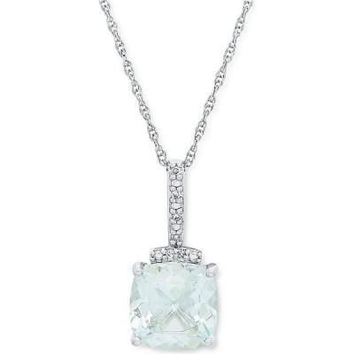 """メイシーズ Macy's ユニセックス ネックレス Aquamarine (1-1/3 ct. t.w.) & Diamond Accent 18"""" Pendant Necklace in 10k White Gold White Gold"""