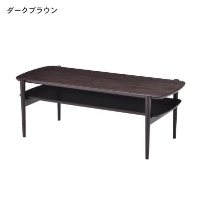 タモ材の棚付きリビングテーブル