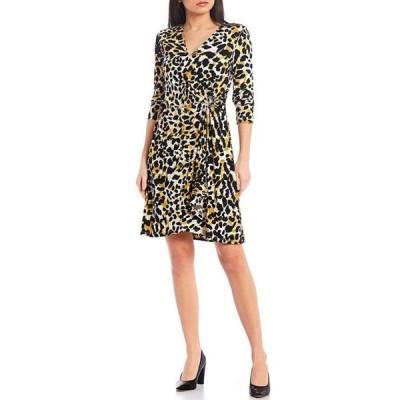 カルバンクライン レディース ワンピース トップス Animal Print Matte Jersey 3/4 Sleeve Faux-Wrap Dress
