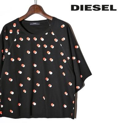 ディーゼル DIESEL 半袖Tシャツ カットソー レディース ドット柄 カットオフ切りっぱなし T-BREN-SHORT-C