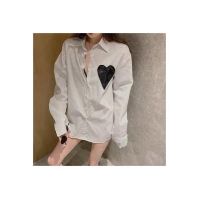 【送料無料】秋冬 レトロなストライプ 長袖 ルース シャツ デザイン 感 襟 ロング | 364331_A64374-6195049