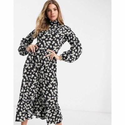 ミスガイデッド Missguided レディース ワンピース ミドル丈 ワンピース・ドレス Midi Smock Dress In Floral ブラック