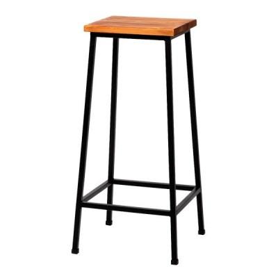 ビンテージ調椅子 天然木製スツール ブリック BRICK ハイタイプ レトロモダン ブラウン 完成品 PR-BS67HI