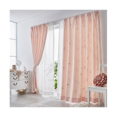 ヒダがキレイな花柄箔プリントカーテン ドレープカーテン(遮光あり・なし) Curtains, blackout curtains, thermal curtains, Drape(ニッセン、nissen)