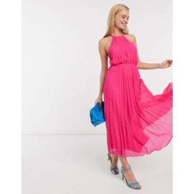 エイソス レディース ワンピース トップス ASOS DESIGN halter pleated cami midi dress in dobby spot Hot pink