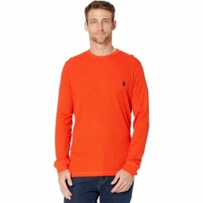 ユーエスポロアッスン U.S. POLO ASSN. メンズ 長袖Tシャツ トップス Long Sleeve Crew Neck Solid Thermal Shirt Harvest Orange