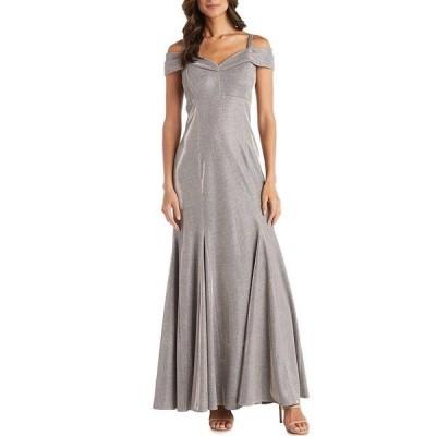アールアンドエムリチャーズ レディース ワンピース トップス Lurex Shimmer Knit Off-the-Shoulder Godet Gown Gold