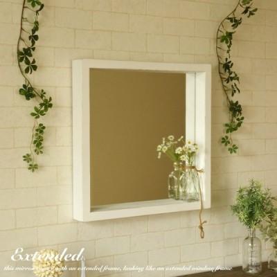 鏡 ウォールミラー 壁掛け 出窓 CAM-EX ブラウン 正方形 おしゃれ 全身 北欧 姫系 玄関 洗面台 アンティーク風 木製 フラット シンプル レトロ