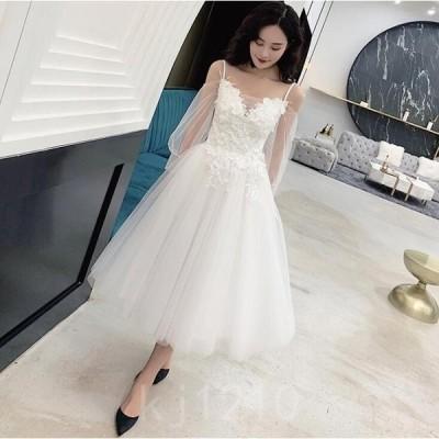 ウェデイングドレス花嫁ドレスキャミソールワンピ白ドレス二次会お呼ばれシンプルロングドレス袖付き花飾り結婚式新婚旅行透け感