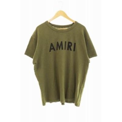 【中古】アミリ AMIRI ショットガン ダメージ加工 ロゴ Tシャツ M カーキ ブランド古着ベクトル 中古210128 0100
