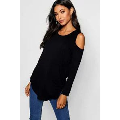 Boohoo レディーストップス Boohoo Long Sleeve Cold Shoulder Top black