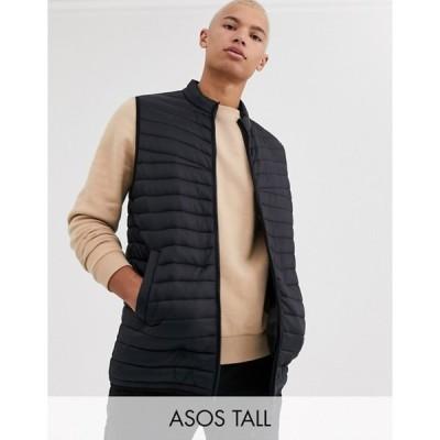 エイソス メンズ タンクトップ トップス ASOS DESIGN Tall puffer vest in black