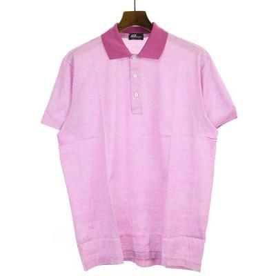 MORA モーラ ハイビスカスプリントポロシャツ ピンク XL メンズ