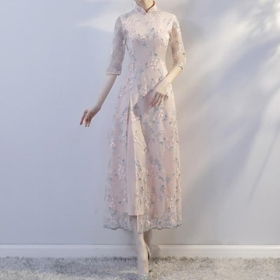 パーティードレス アオザイ ベトナム衣装 ワンピース ロングドレス キャバドレス 花柄 お呼ばれ パーティー 二次会 結婚式 披露宴 オルチャン