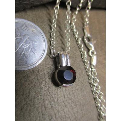 Silver925  シルバー ・天然石ガーネット・ペンダント+  sv925 シルバーチェーン 45cm  4.7g  n992