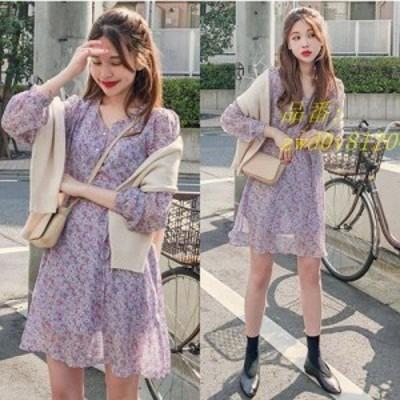 夏 ミニひざ丈 気質 最強の新作chic 長袖 プリント柄ワンピ 韓国ファッション可愛