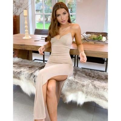 エイソス ASOS Luxe レディース ワンピース マキシ丈 ワンピース・ドレス Asos Luxe Lounge Strappy Bust Maxi Dress In Stone ベージュ