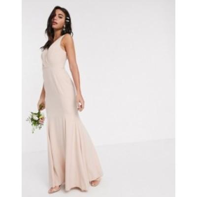 エイソス レディース ワンピース トップス ASOS DESIGN Bridesmaid button back maxi dress with pleated bodice detail Soft blush