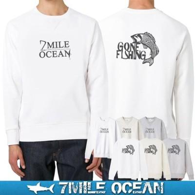 7MILE OCEAN セール価格 メンズ 長袖 トレーナー スウェット バックプリント フィッシング 魚 釣り ブランド アメカジ アウトドア 裏起毛 大きいサイズ 秋冬