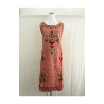 エプロン ワンピース ドレス 刺繍 おしゃれ エスニック ガーデニング アウトドア キャンプ DIY アジアン ウォッシュ加工
