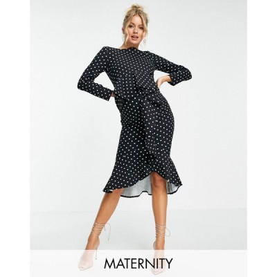 リトル ミストレス Little Mistress Maternity レディース ワンピース ラップドレス ミドル丈 ruffle wrap polka print midi dress in black