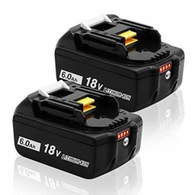【送料無料】ERJER マキタ 18V バッテリー 互換 BL1860b BL1860 6000mAh 2個セット 6.0ah 残量指示付き BL1815 BL1830 BL1840 BL1850 BL1