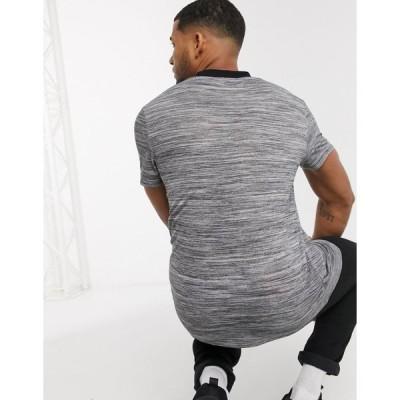 エイソス メンズ Tシャツ トップス ASOS DESIGN t-shirt in textured fabric with black contrast ringer Gray