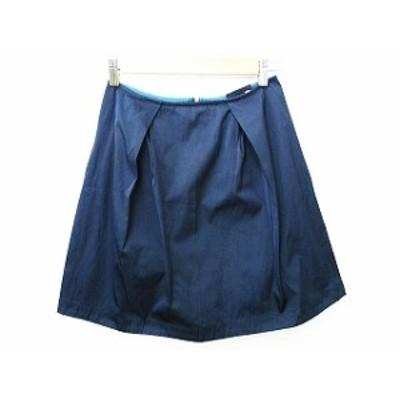 【中古】Droite lautreamont 台形スカート リバーシブル ひざ丈 ファスナー 紺 ネイビー ダークシアン 1 レディース